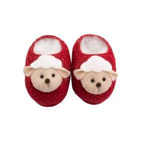 Sapatinho bebê em tricot de ovelhinha - Vermelho