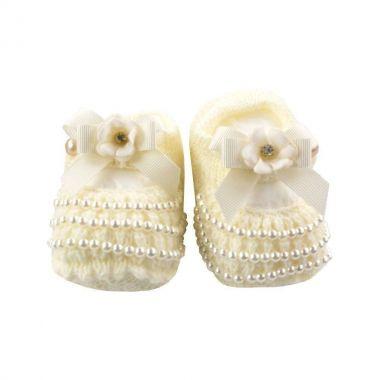 Sapatinho bebê em tricot laço com pérolas - Marfim