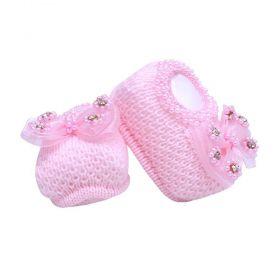 Sapatinho bebê em tricot laço com pérolas - Rosa