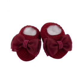 Sapatinho bebê em tricot com laço e  pérolas - Vermelho