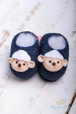 Sapatinho bebê em tricot ovelhinha - Azul marinho