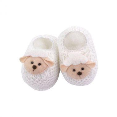 Sapatinho bebê em tricot ovelhinha - Branco