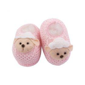 Sapatinho bebê em tricot ovelhinha - Rosa bebê