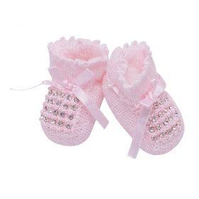Sapatinho bebê em tricot - Rosa bebê