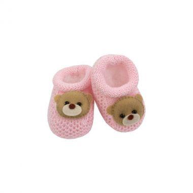 Sapatinho bebê em tricot ursinha - Rosa bebê
