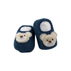 Sapatinho bebê em tricot ursinho - Jeans
