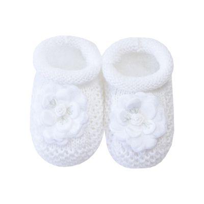 Sapatinho bebê flor - Branco