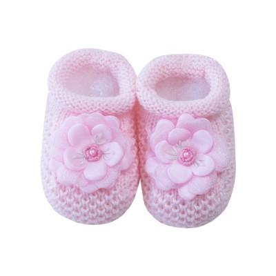 Sapatinho bebê flor - Rosa sensação