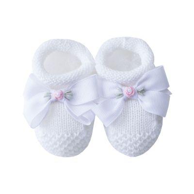 Sapatinho bebê laço gorgurão com flor - Branco e rosa
