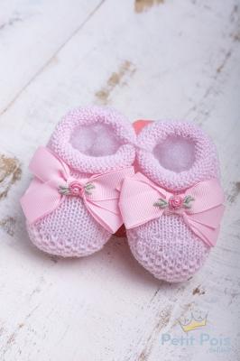 Sapatinho bebê laço gorgurão com flor - Sensação