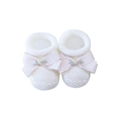 Sapatinho bebê laço gorgurão flor - Off white