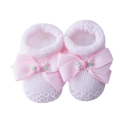 Sapatinho bebê laço gorgurão com flor - Rosa sensação
