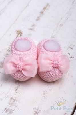 Sapatinho bebê laço organza - Sensação