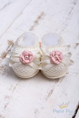 Sapatinho bebê laços em gorgurão com flor - Natural