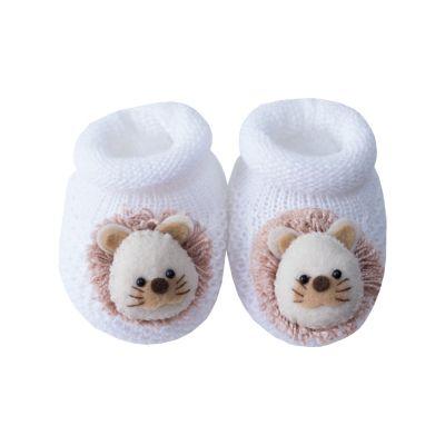 Sapatinho bebê leão - Branco