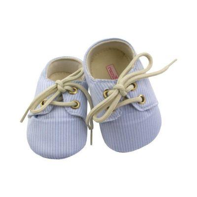 Sapatinho bebê listrado - Azul bebê e branco