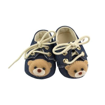 Sapatinho bebê masculino urso - Jeans