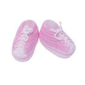 Sapatinho bebê tênis em tricot - Rosa bebê e branco
