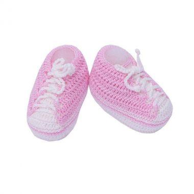 Sapatinho bebê tênis em crochê - Rosa bebê e branco