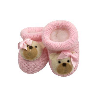 Sapatinho bebê ursinha - Rosa bebê