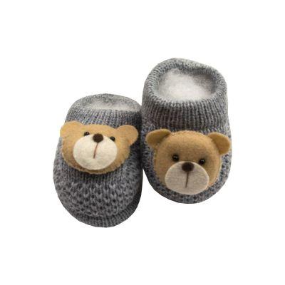 Sapatinho bebê em tricot ursinho - Cinza