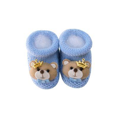 Sapatinho bebê ursinho com coroa - Azul bebê