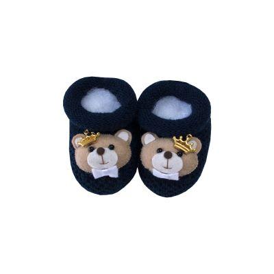 Sapatinho bebê ursinho com coroa - Azul marinho