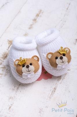 Sapatinho bebê ursinho com coroa - Branco