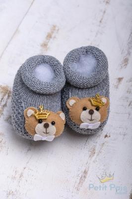 Sapatinho bebê ursinho com coroa - Cinza