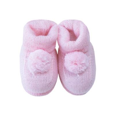 Sapatinho botinha bebê pompom - Rosa sensação