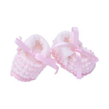 Sapatinho em tricot - Branco e rosa
