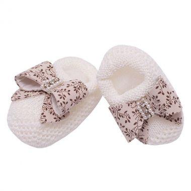 Sapatinho bebê em tricot - Marfim