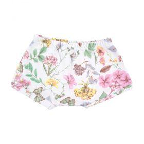 Short bebê floral - Rosa bebê e branco