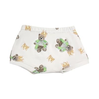 Short bebê ursinho com coroa - Branco e verde