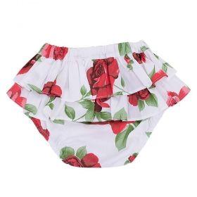 Tapa fralda bebê babados de rosas - Branco
