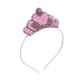 Tiara bebê bordada com coroa em pérolas e strass - Rosa
