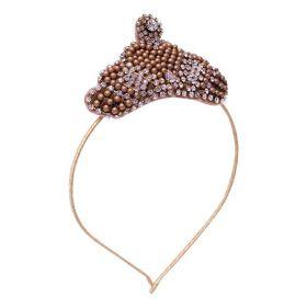 Tiara bebê bordada coroa compérolas e strass - Dourado