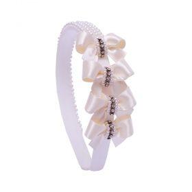 Tiara bebê com laços, pérolas e strass - Marfim