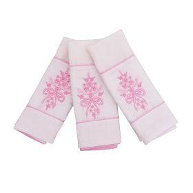 Toalha de boca bordada de flores kit com 3 peças  - Branco/Rosa bebê