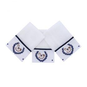 Toalha de boca kit com 3 peças cavalinho - Branco e azul marinho