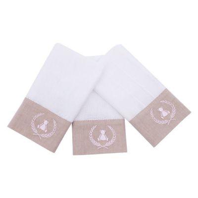Toalha de boca kit com 3 peças ursinha - Branco