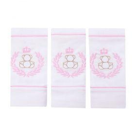 Toalha de boca kit com 3 peças ursinha - Branco e rosa bebê