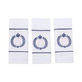 Toalha de boca kit com 3 peças ursinho - Branco e azul marinho