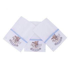 Toalha de boca kit com 3 peças - Bege e azul