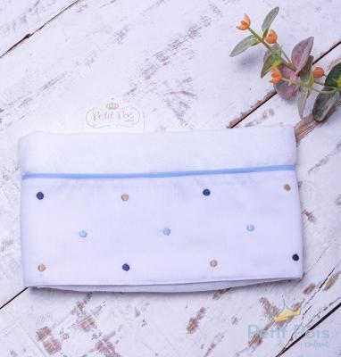 Toalha fralda poás - Branco e azul