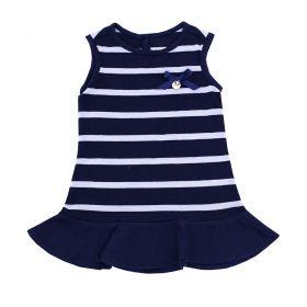Vestido bebê - Azul marinho e branco