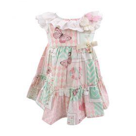 Vestido bebê borboletas - Branco e rosa