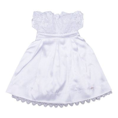 Vestido bebê bordado com pérolas - Branco