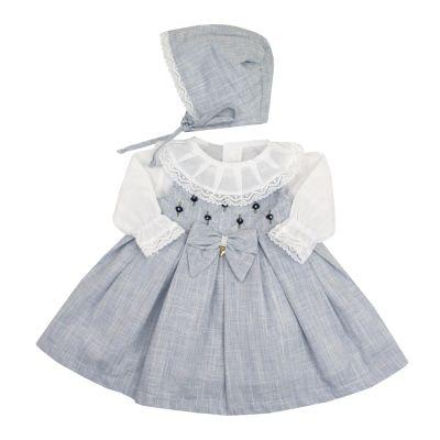 Vestido bebê - Branco e azul