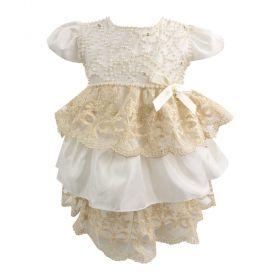 Vestido bebê com babados e pérolas - Marfim